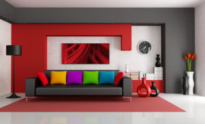 Red white and black modern living room with black couch - rendering- the art picture on wall is a my composition