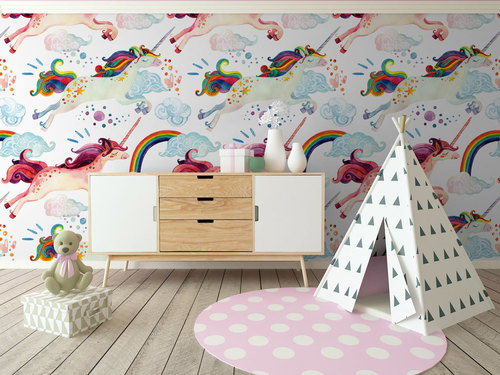 colofrul unicorn wall mural